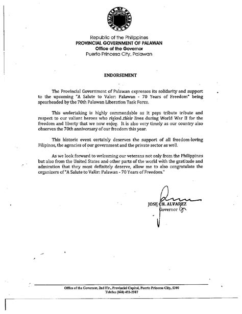 Endorsement Letter Government Provincial Government Of Palawan