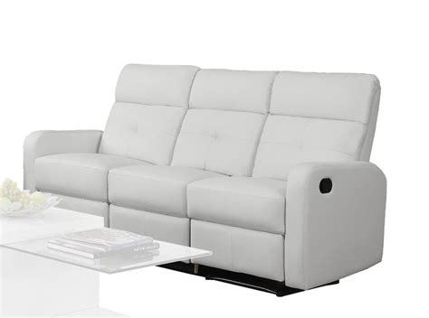 Monarch Specialties Reclining Sofa White Bonded Leather White Recliner Sofa