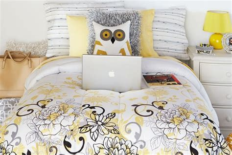 rhl bedding welcome to your dorm cosmopolitan gray and yellow bedding
