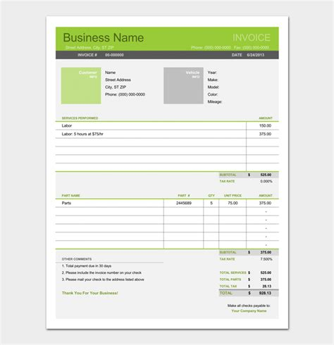 repair receipt template repair receipt template 4 forms for word pdf format