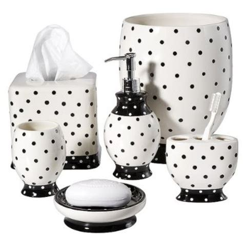 bathroom accessories gray and white polka dot towels