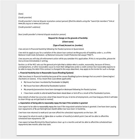 Request Letter Pdf Hardship Letter Template 10 For Word Pdf Format
