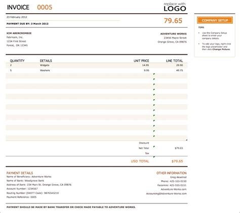 invoice template   employed  company