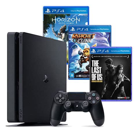 Playstation 4 Black Slim 500gb Hits Bundle 2 console sony playstation 4 500gb slim bundle hits horizon