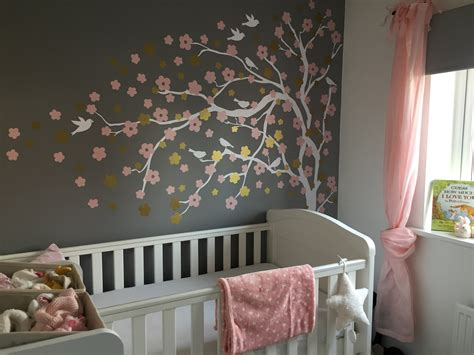 pink and gold baby room baby grey pink white gold nursery blossom tree wall sticker baby maybe gold