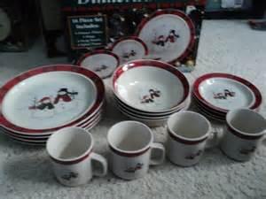 royal seasons christmas snowman dishes stoneware 16 pc