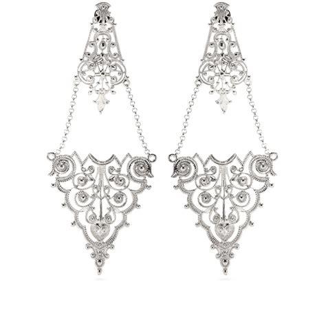 Chandelier Silver Earrings Iam By Ileana Makri Chantilly Lace Chandelier Earrings In Metallic Lyst