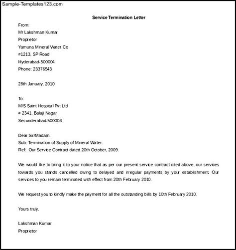termination letter format in ms word service contract termination letter template word