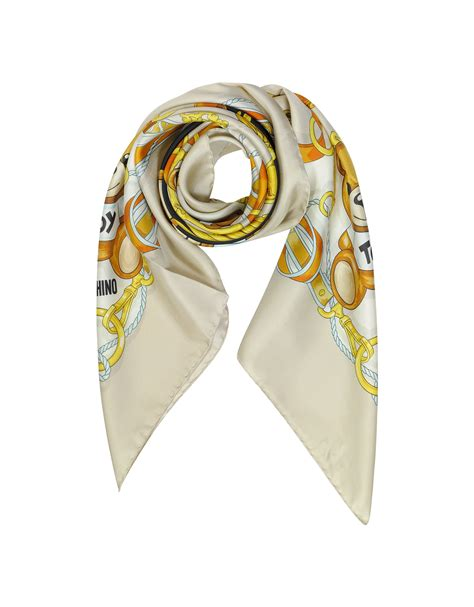 moschino ready to twill silk square scarf in blue lyst