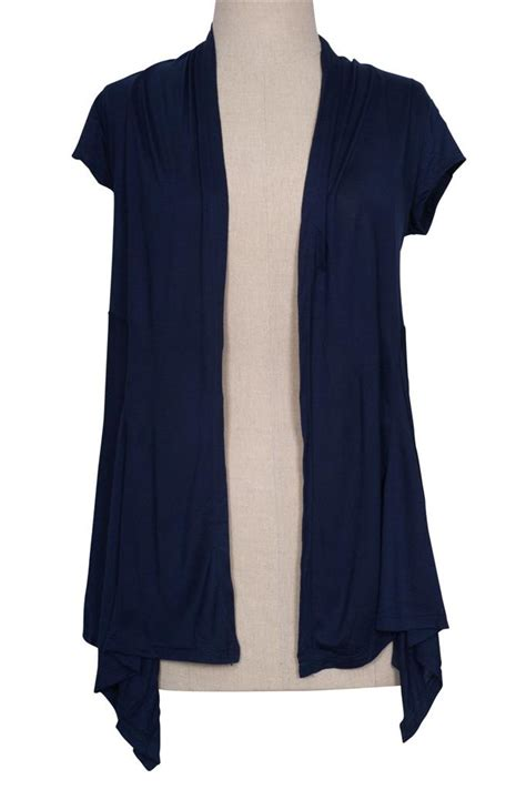 short sleeve drape front cardigan irregular hem open front knit cardigan draped solid plain