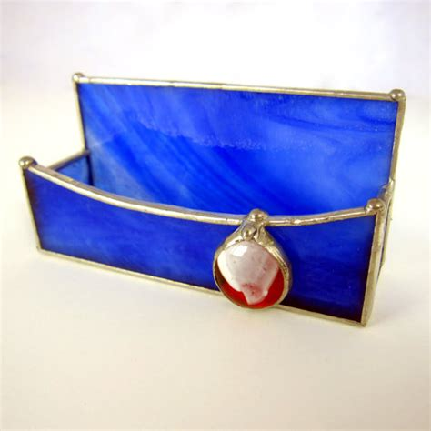 Handmade Business Card Holder - on sale stained glass handmade business card holder in blue