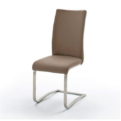 arco grey pu seat and brushed stainless steel dining chair 1
