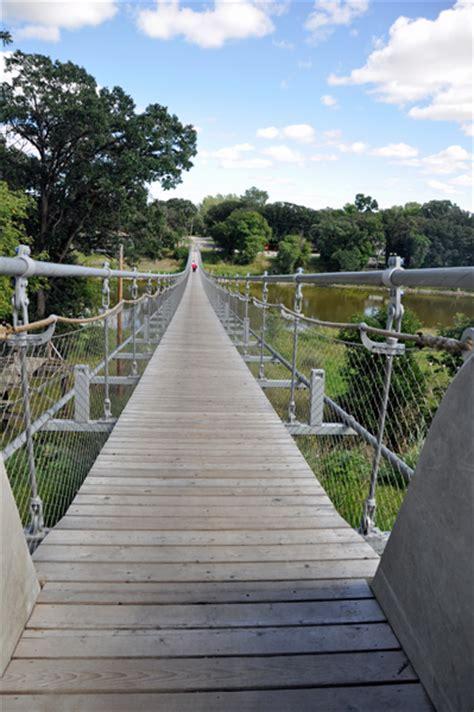 souris swinging bridge canada s longest pedestrian swinging suspension bridge