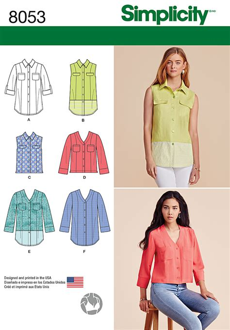 pattern review simplicity 8053 misses button front shirt in various styles