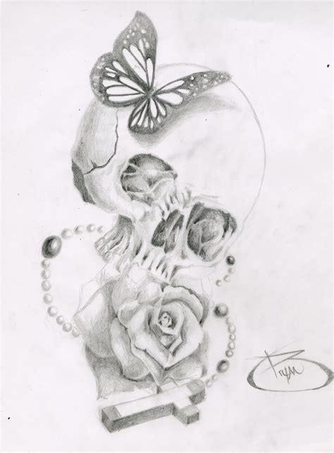 tattoo butterfly sketches skull butterfly rose cross by bryanchalas deviantart