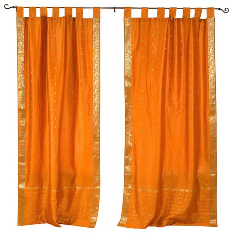 Sheer Cafe Curtains Mustard Tab Top Sheer Sari Cafe Curtain Drape Panel 43w X 36l Pair Eclectic Curtains