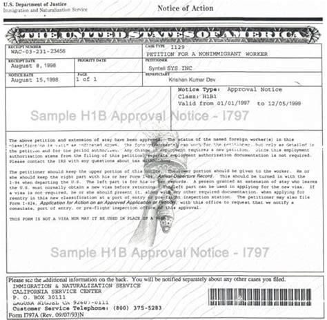 H1b Petition Withdrawal Letter sle form i 797 h1b approval notice