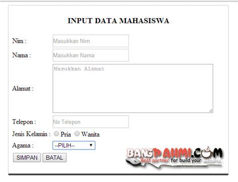membuat database di html5 membuat form input dan output sederhana dengan php dan