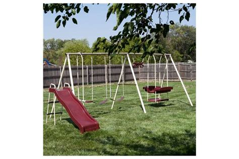 flexible flyer play park metal swing set flexible flyer play park swing set with slide swings