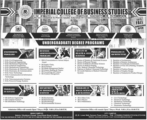 Imperial College Mba Gmat Score by Imperial College Of Business Studies Lahore Admission 2016