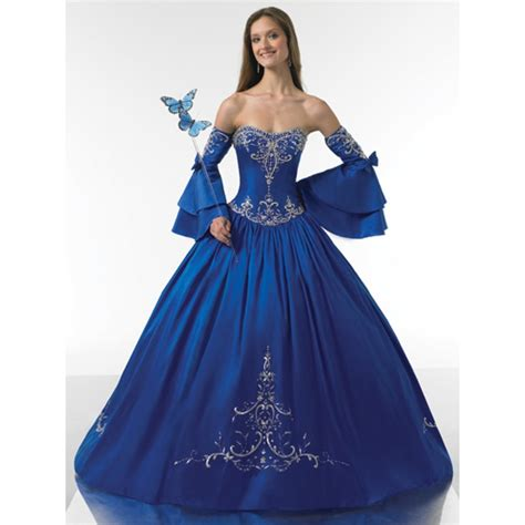 royal blue dresses ball gown strapless ruched embroidery satin long royal