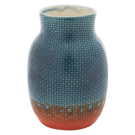 Orange Ceramic Vase by Seb Blue And Orange Ceramic Vase Buy Now At Habitat Uk
