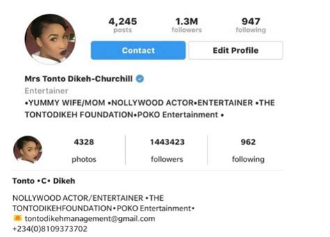 bio instagram style tonto dikeh removes husband s last name quot churchill from