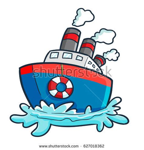 cool boat clipart cool funny cruise ship on holiday stock vector 627018362