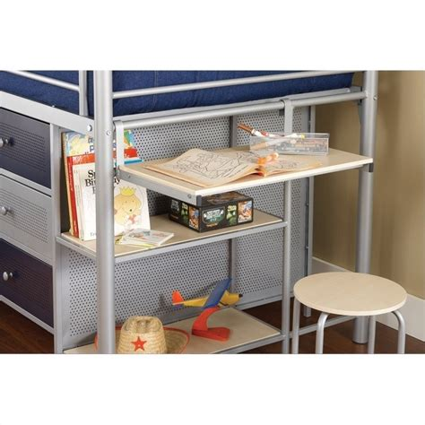 junior loft bed with desk hillsdale universal junior bookcase loft bed with desk and stool in silver 1178jrlbds
