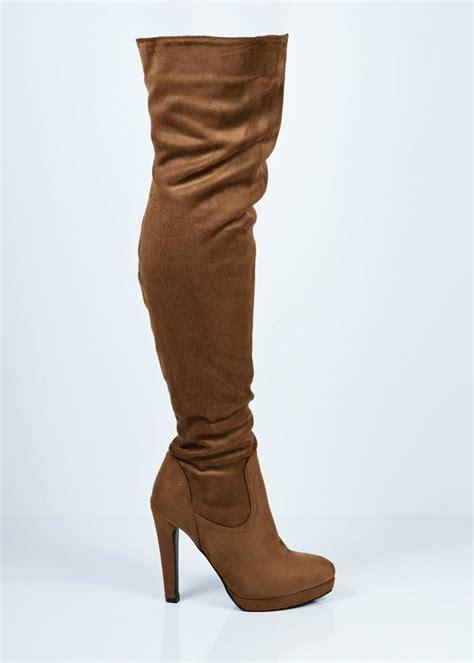 yl057 camel suede high heel platform the knee boots
