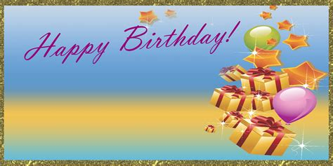 Banner Happy Birthday happy birthday banner gift gold vinyl banners