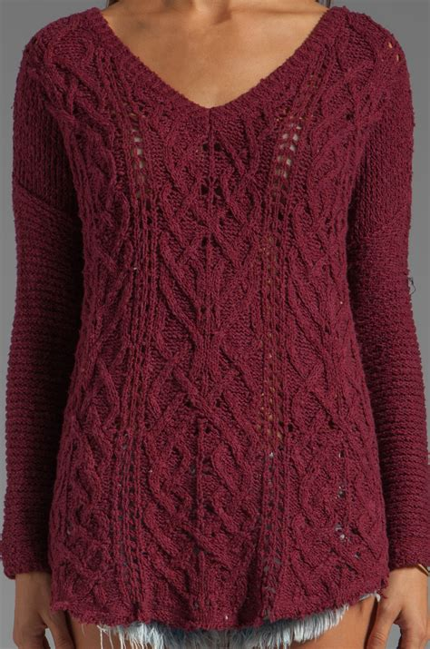 Sweater Normal Heartbeat Abu lyst free cross my sweater in wine in
