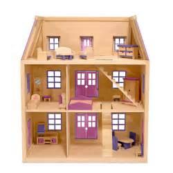 Amazon com melissa amp doug multi level wooden dollhouse with 19 pcs