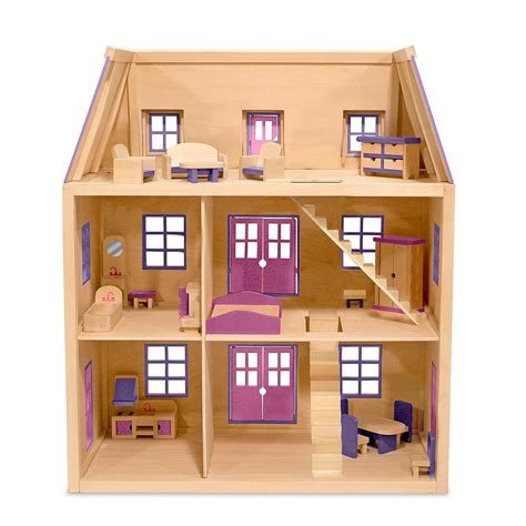 wooden doll houses with furniture amazon com melissa doug multi level wooden dollhouse with 19 pcs furniture melissa