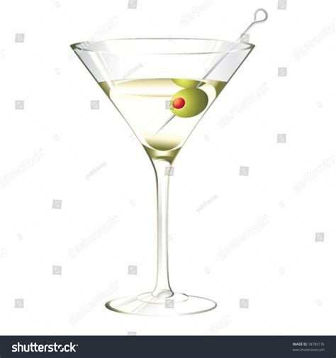 martini white martini glass olive isolated on white stock vector
