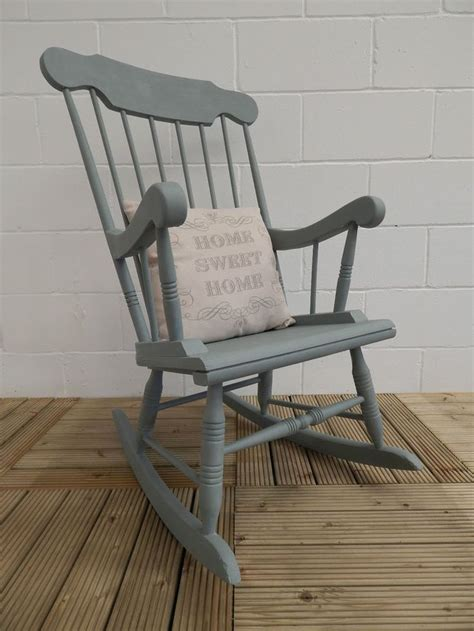 wooden rocking chair painted in sloan duck egg chalk