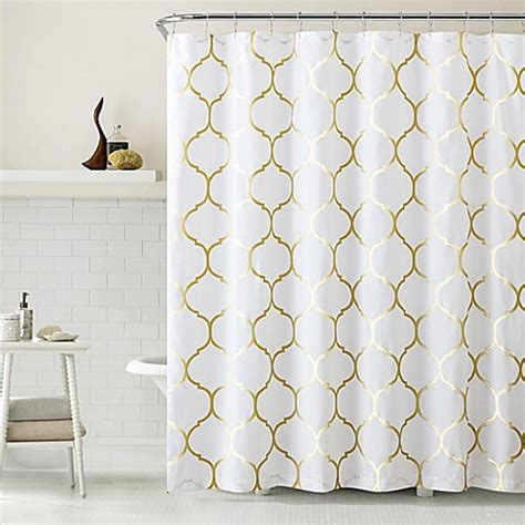 white and gold shower curtain vcny metallic ogee shower curtain in gold white bed bath
