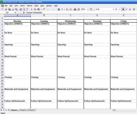lesson plan template xls 17 best images about lesson plan templates on pinterest