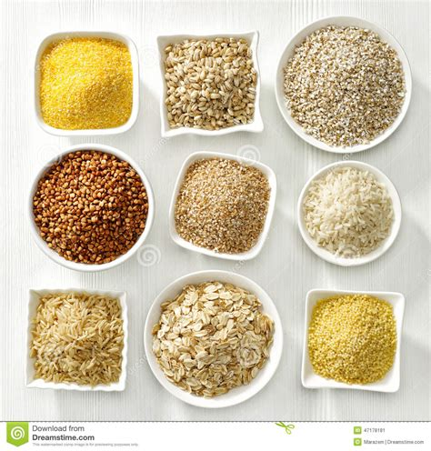 7 types of whole grains various types of cereal grains stock image image 47178181