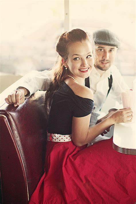 themed photoshoot a 50 s retro diner engagement glamour grace
