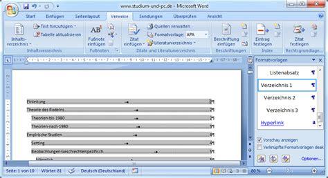 Word Quellenverzeichnis Vorlage Inhaltsverzeichnis Erstellen Abfallprodukt Der Formatvorlagen