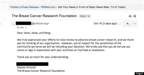 Thank You Letter For Donation To Cancer Research Artists Who Motorboated For Charity Shocked Their Funds Were Rejected Huffpost