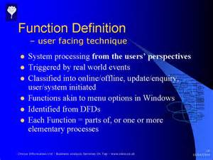 using the function definition technique requirements