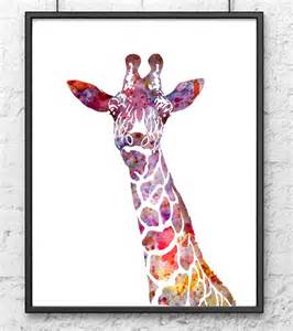 colorful giraffe painting colorful watercolor giraffe animal print by