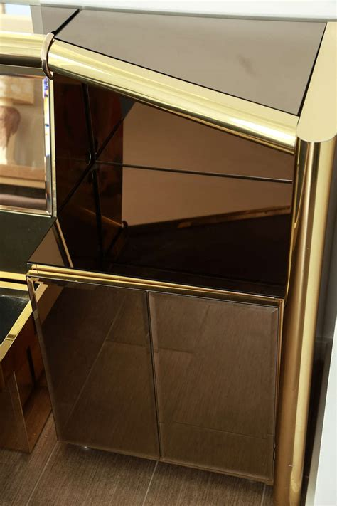 stunning brass and bronze mirrored bed set by ello at 1stdibs