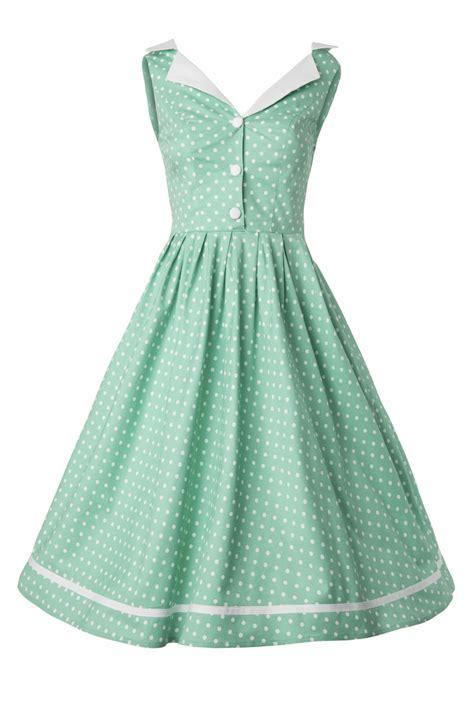 50s dress in mint green polka dot