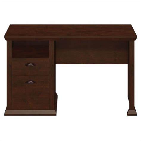 Bush Yorktown Single Pedestal Desk In Antique Cherry Antique Computer Desk