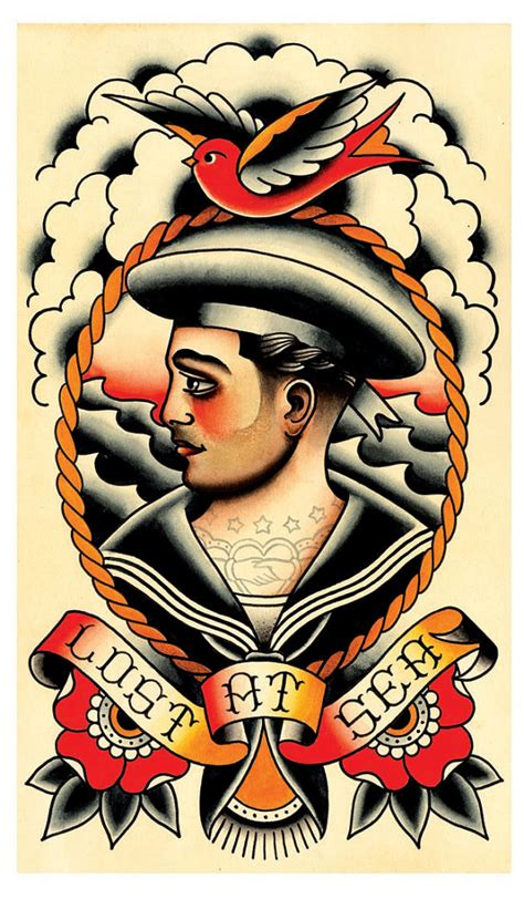 old sailor tattoos vintage sailor lost at sea flash print by