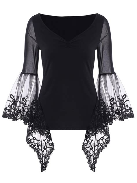 Sleeve Panel T Shirt black bell sleeve sheer lace panel t shirt rosegal