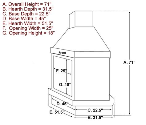 Fireplace Hearth Size by Outdoor Fireplace Dimensions